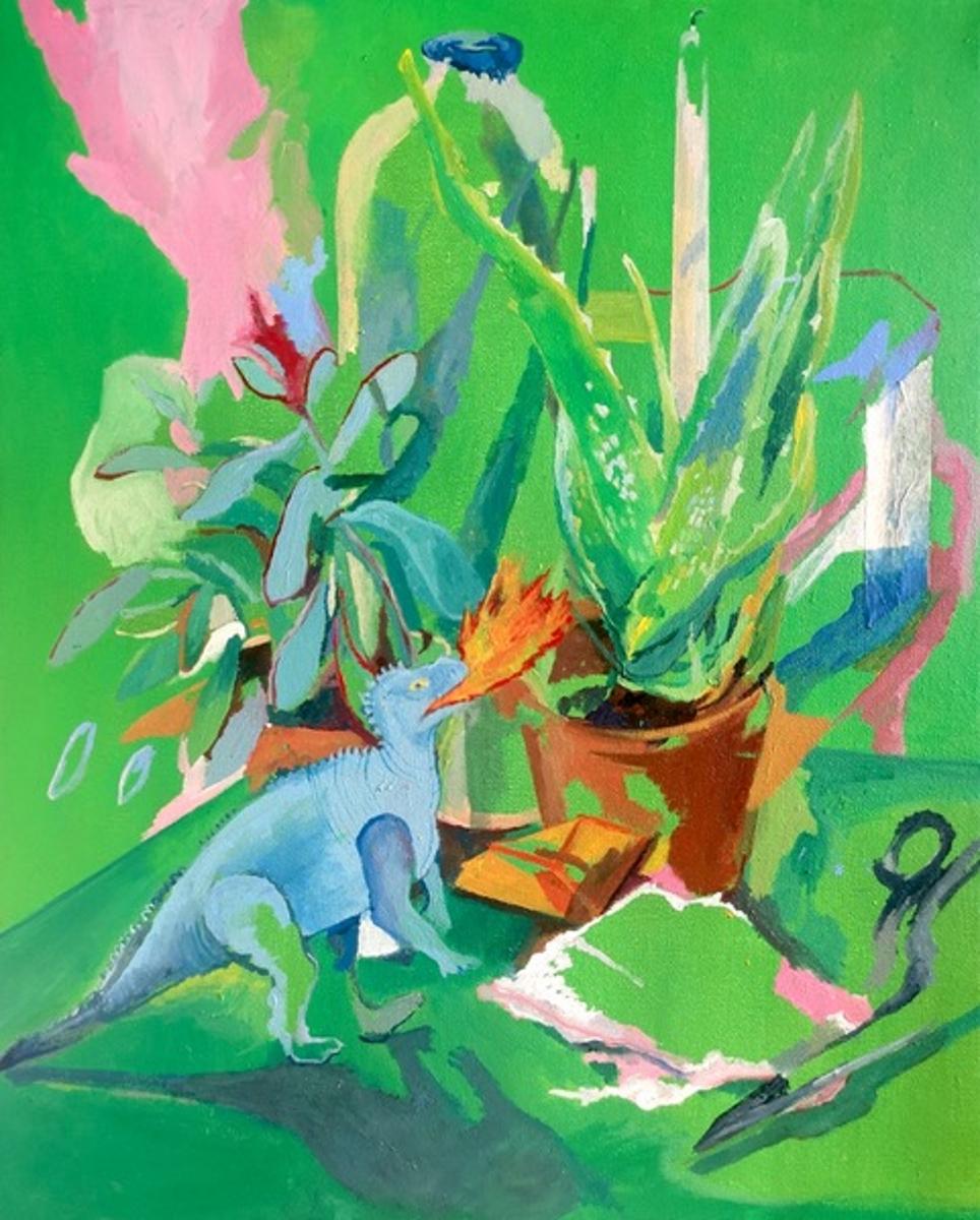 Anna Capolupo, Battaglia (2020), tecnica mista su tela, 50 x 40 cm
