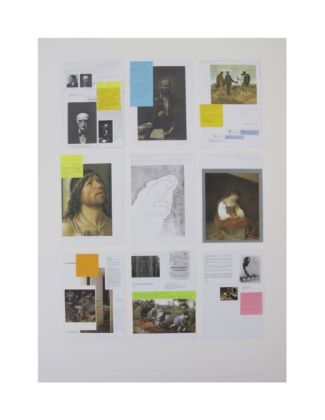 Bethan Huws, The relation is not formal. It's conceptual, 2020, collage, fotocopie, post-it, cartoline montate su cartone museale, cm 120x 87x4 ognuno
