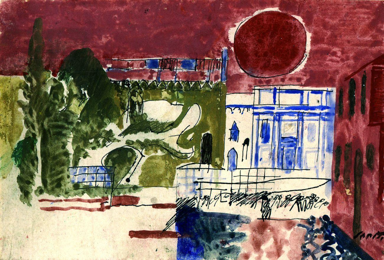 Bruno Saetti, Composizione col sole, 1972. Collezione privata