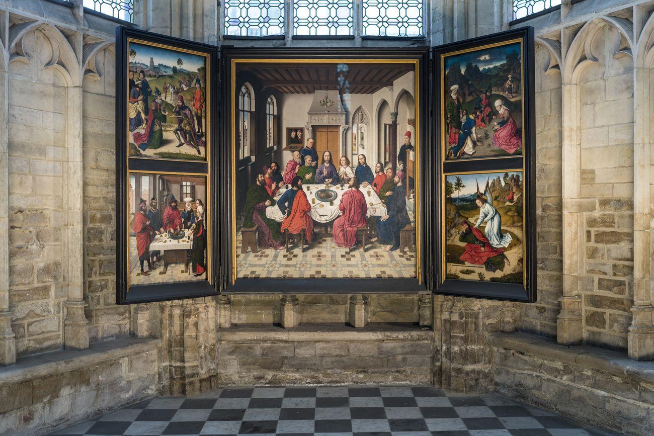 Collegiata di San Pietro, Lovanio. Il trittico con l'Ultima Cena di Dieric Bouts. Courtesy M Museum Leuven. Photo © Rudi Van Beek