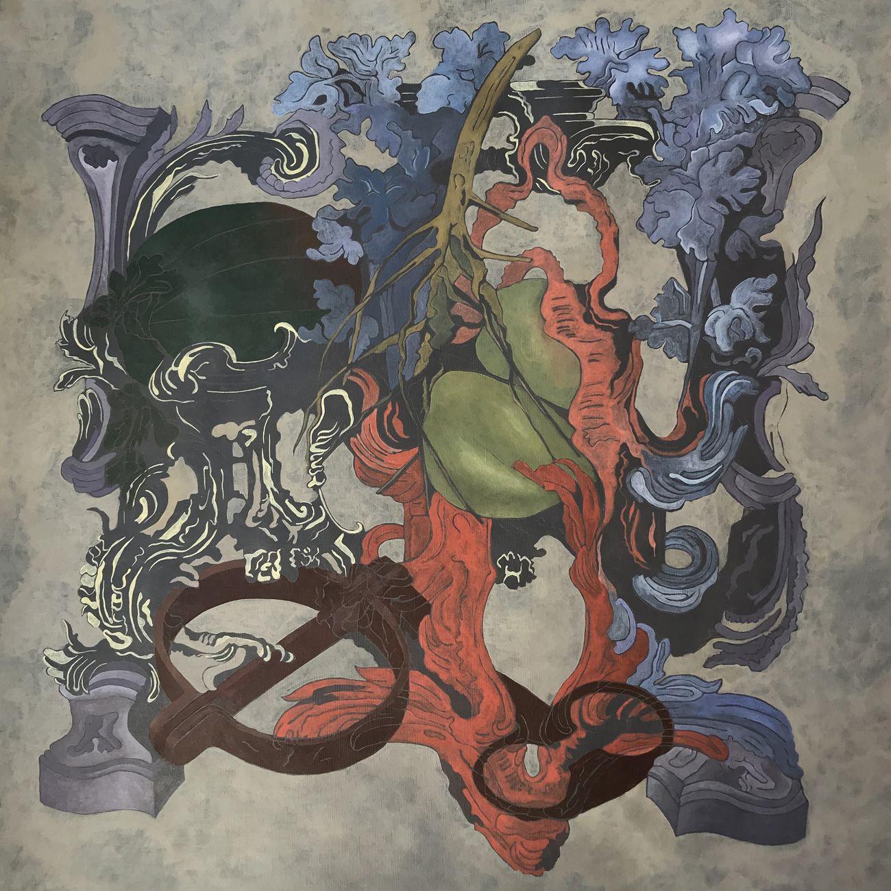 Debora Hirsch, Firmamento (key), 2020, acrilico e matita su tela, cm 80x80
