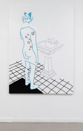 Federica Di Pietrantonio, (crying..) i really loved her, 2020, enamel on canvas, 197x146 cm, courtesy of the artist and The Gallery Apart Rome, photo by Giorgio Benni