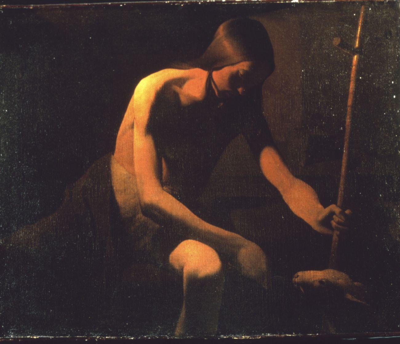 Georges de La Tour, San Giovanni Battista nel deserto, 1649 ca. Olio su tela, 81 × 101 cm. Musée départemental, Vic sur Seille