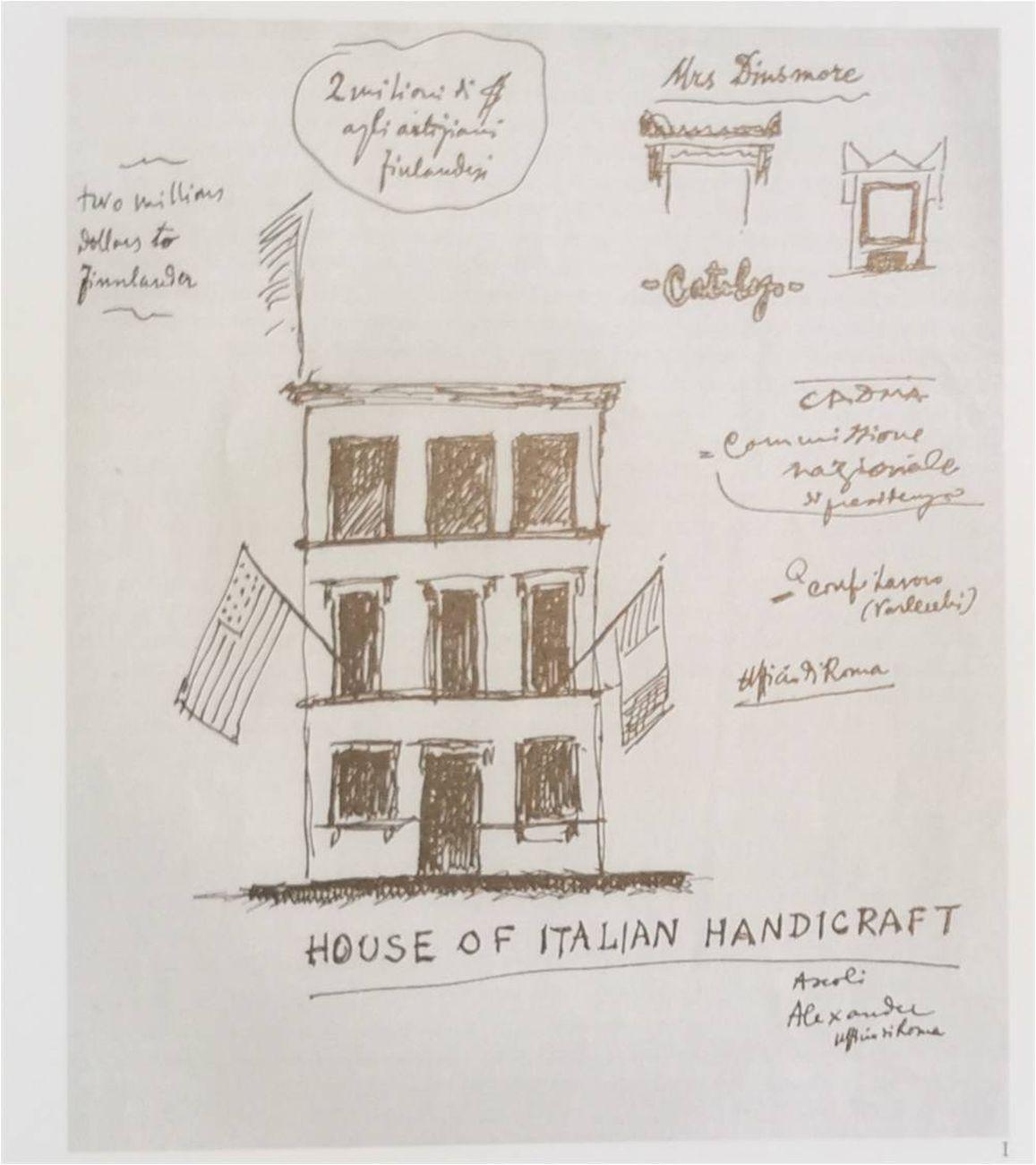 House of Italian Handcraft di New York, disegno di Ragghianti, ca. 1947