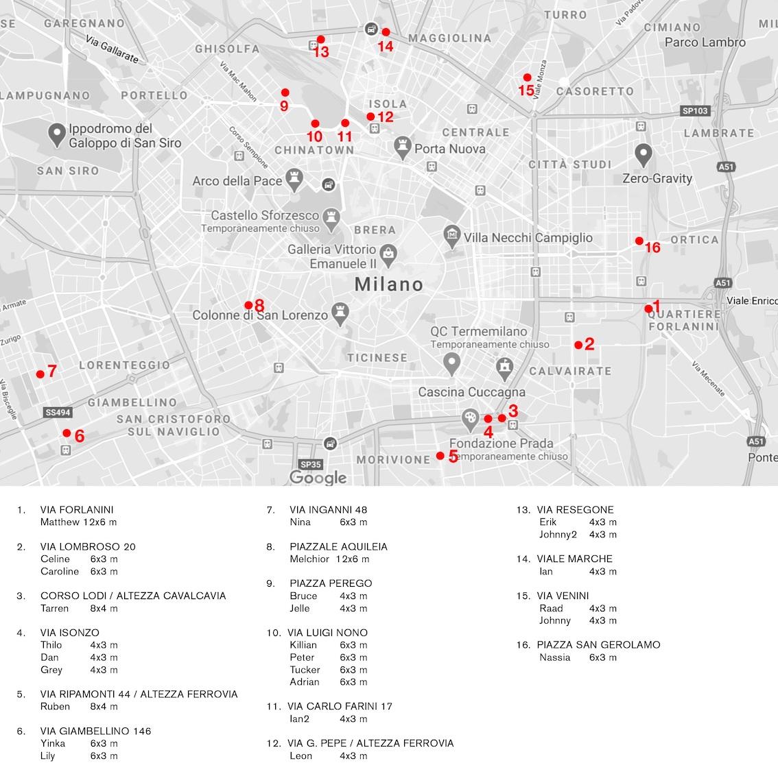 Mappa delle affissioni