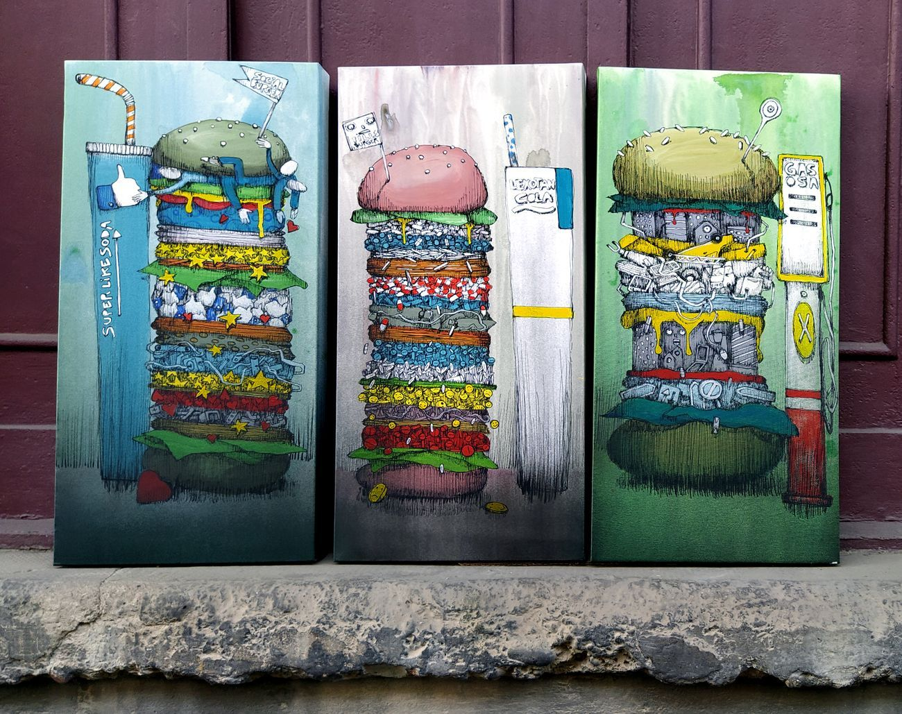 Mrfijodor, Tris di Burger, 2020, tecnica mista su tela, cm 30x60