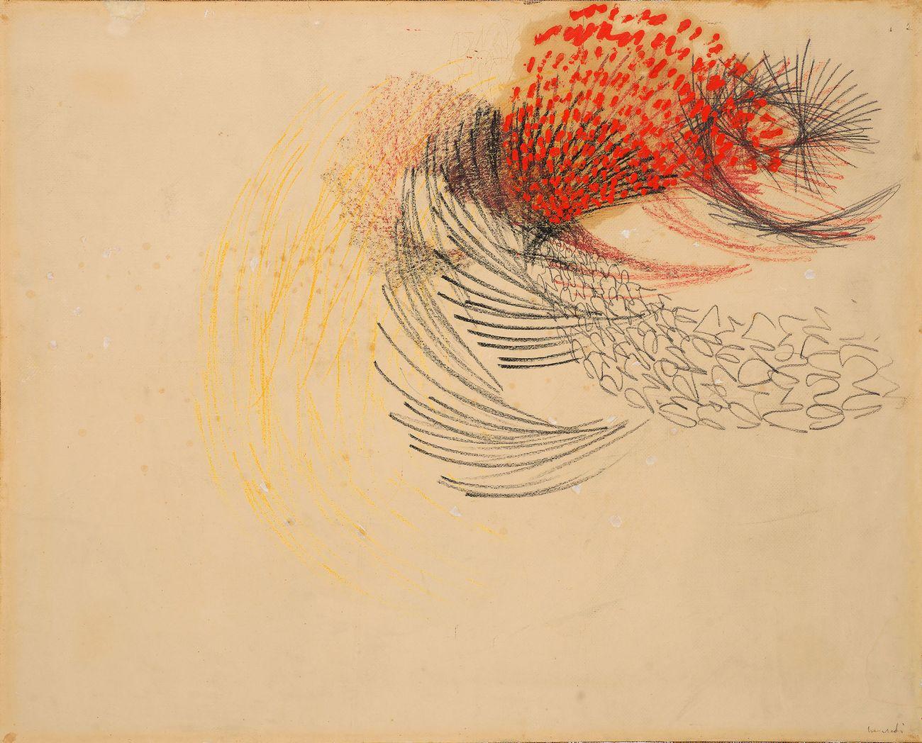 Tancredi Parmeggiani, Senza titolo, 1953, tecnica mista su carta intelata, cm 73x90. Courtesy Blindarte