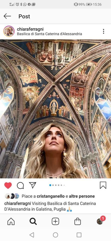 Chiara Ferragni nella Basilica di Santa Caterina d'Alessandria a Galatina, fonte Instagram