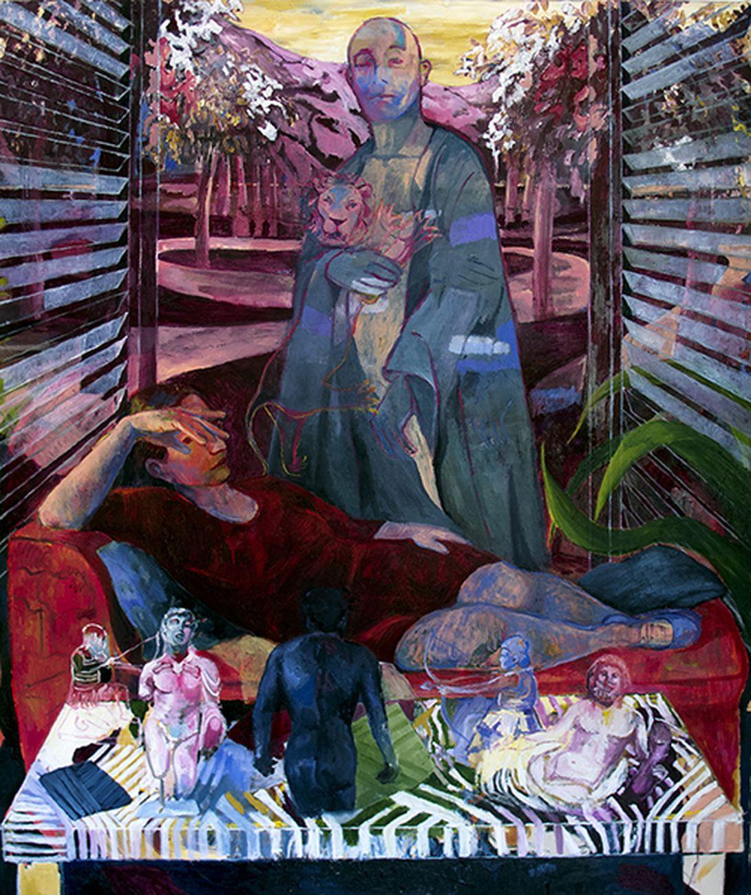 Aryan Ozmaei, Early Springtime Vision, 2019, olio su tela, 140x170 cm