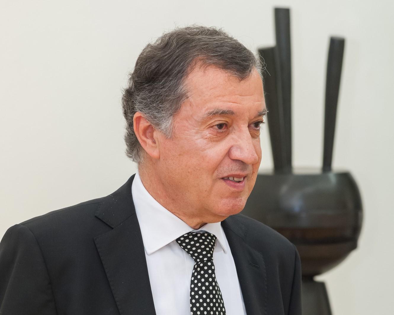Mauro Stefanini, Presidente ANGAMC, davanti ad un'opera di Guido Pinzani