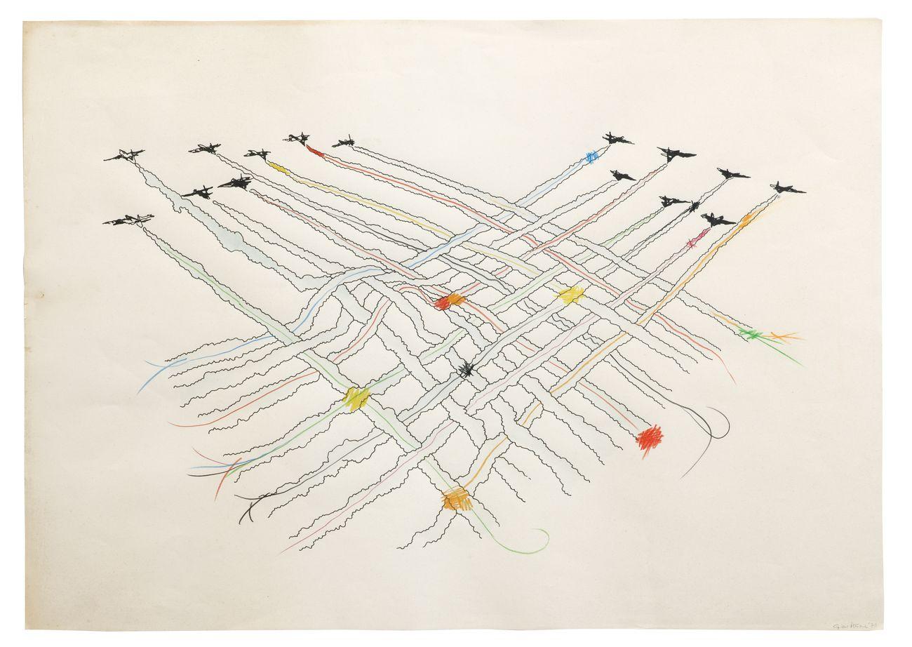 Gianni Pettena, Imprisonment, 1971. China e matite colorate su carta, Concorso Trigon '71, Graz (Austria)