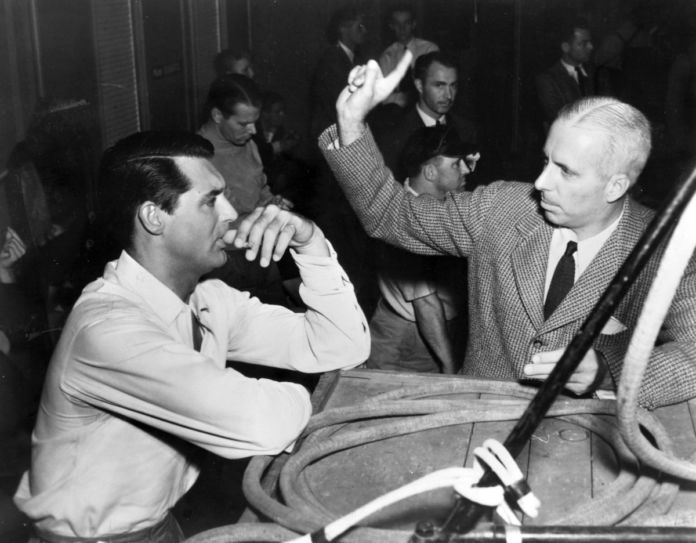 HOWARD HAWKS on set HIS GIRL FRIDAY with Cary Grant