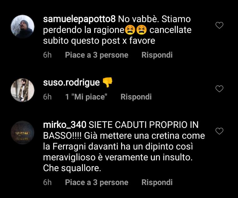 I commenti sotto il post di Chiara Ferragni alla pagina Instagram @galleriedegliuffizi