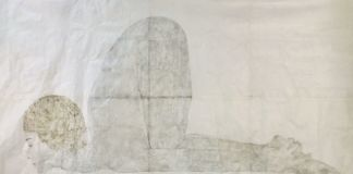 Marta Roberti, Self portrait as a Snail with Pangoline Hair Cut, 2020, oil pastel and graphite on chinese handmade paper, 137x240 cm