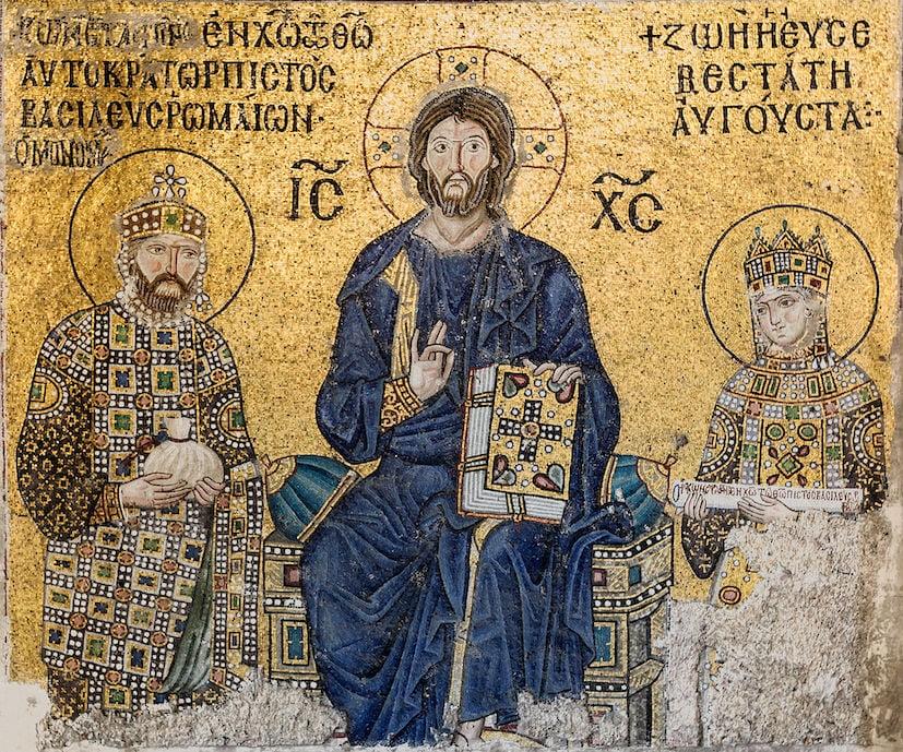 Mosaico dell'imperatore Costantino IX e della Basilissa Zoe. Santa Sofia, Istanbul. Fonte Wikipedia