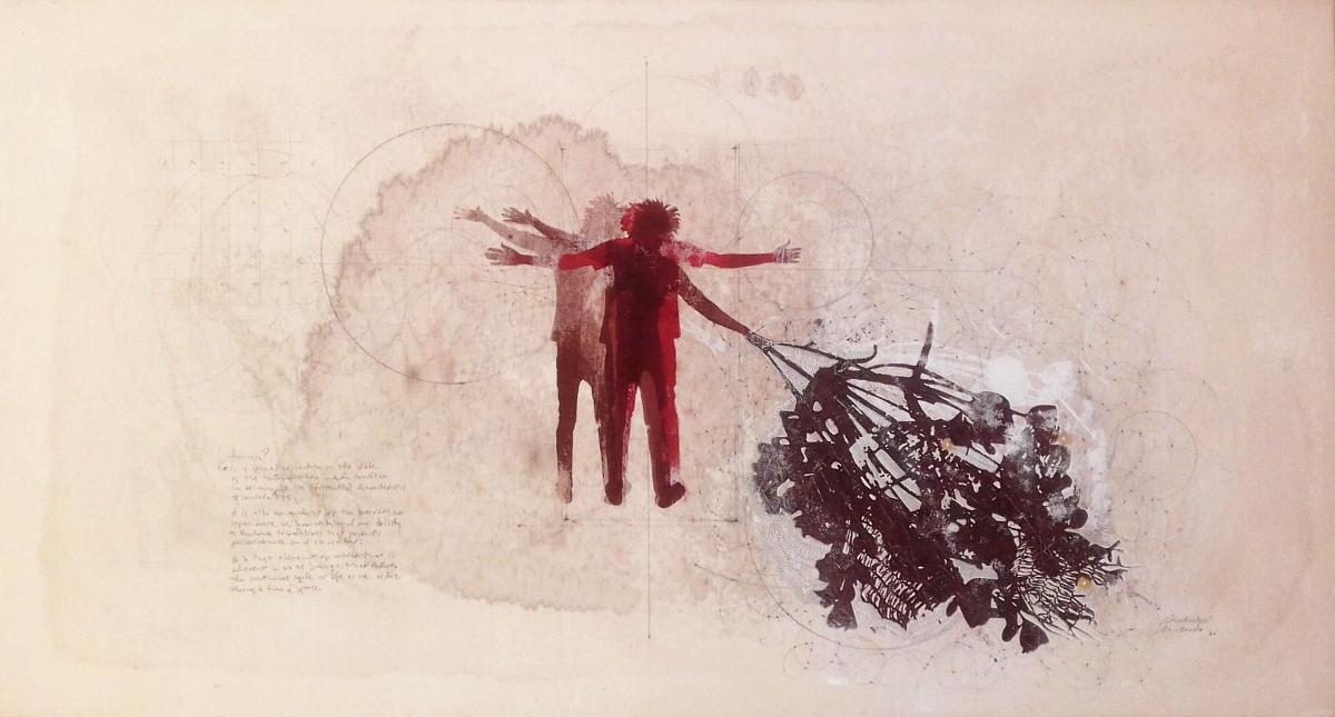 Mukudzei Muzondo, ' Human 2 ' mixed media on canvas 120cmx66cm, 2020