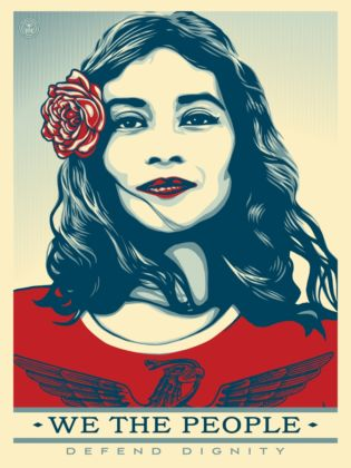 Shepard Fairey, We the People, Defend dignity, 2017, Collezione Pinto