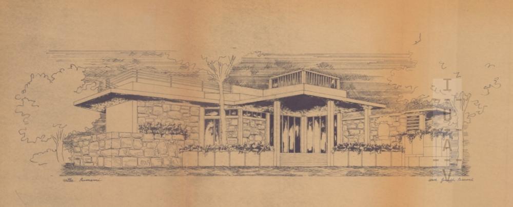 Villa Scimemi a Mondello, progetto di Giuseppe Samonà, 1950-52. Prospettiva, Università Iuav di Venezia, Archivio Progetti, fondo Giuseppe Samonà