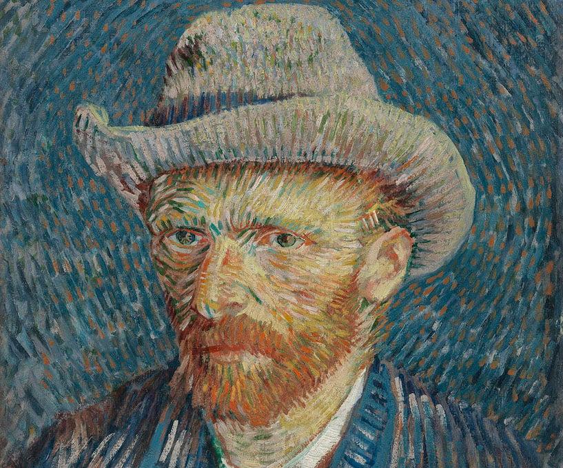 Vincent van Gogh, Autoritratto con cappello di feltro grigio, 1887, olio su tela, cm 44,5 x 37,2. Van Gogh Museum (Vincent van Gogh Foundation), Amsterdam - detail