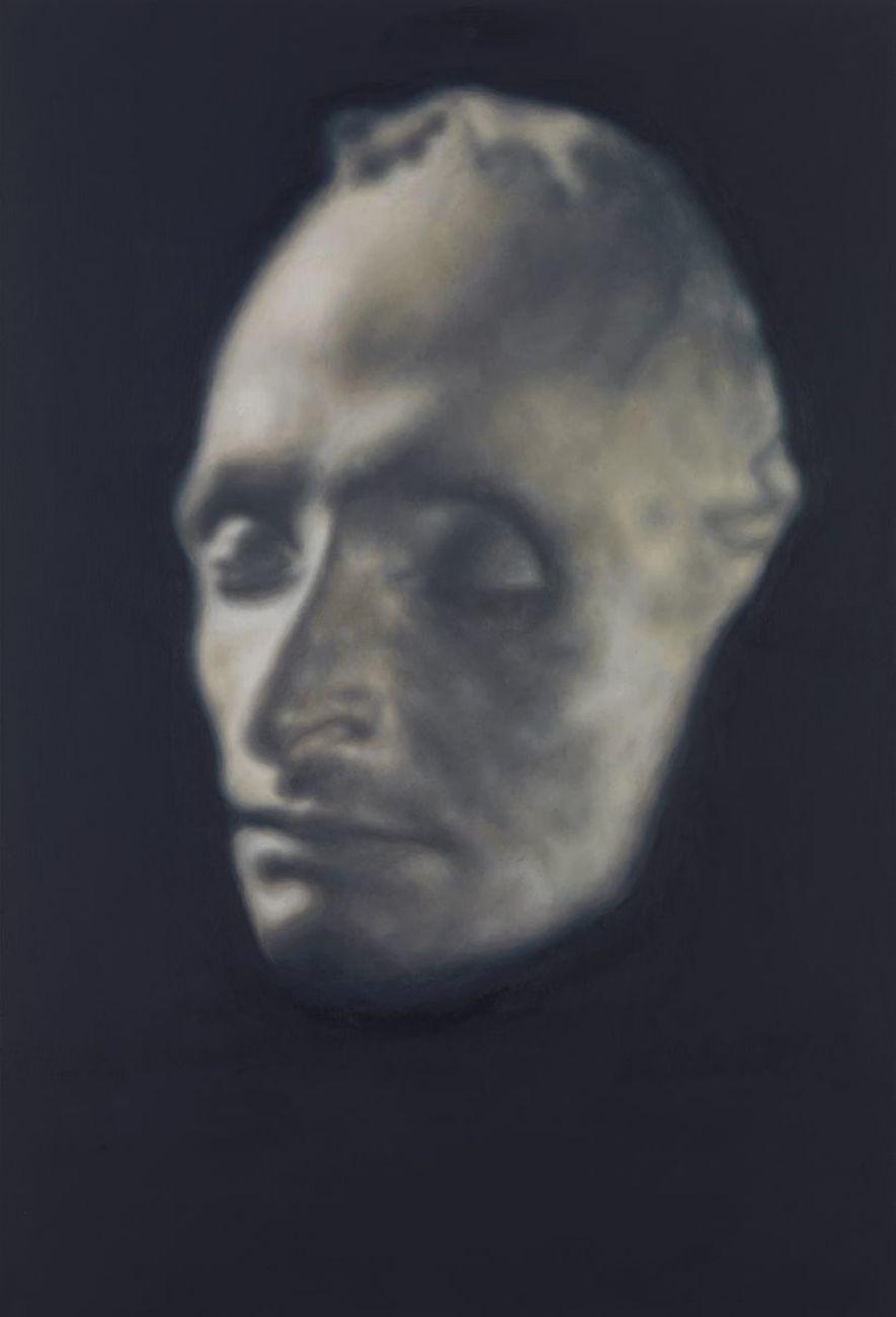 Y.Z. Kami, Masque mortuaire de Pascal (Pascal's death masque), 2017. Oil on linen, cm 190.5 x 129.5 © Y.Z. Kami. Photo Rob McKeever. Courtesy Gagosian