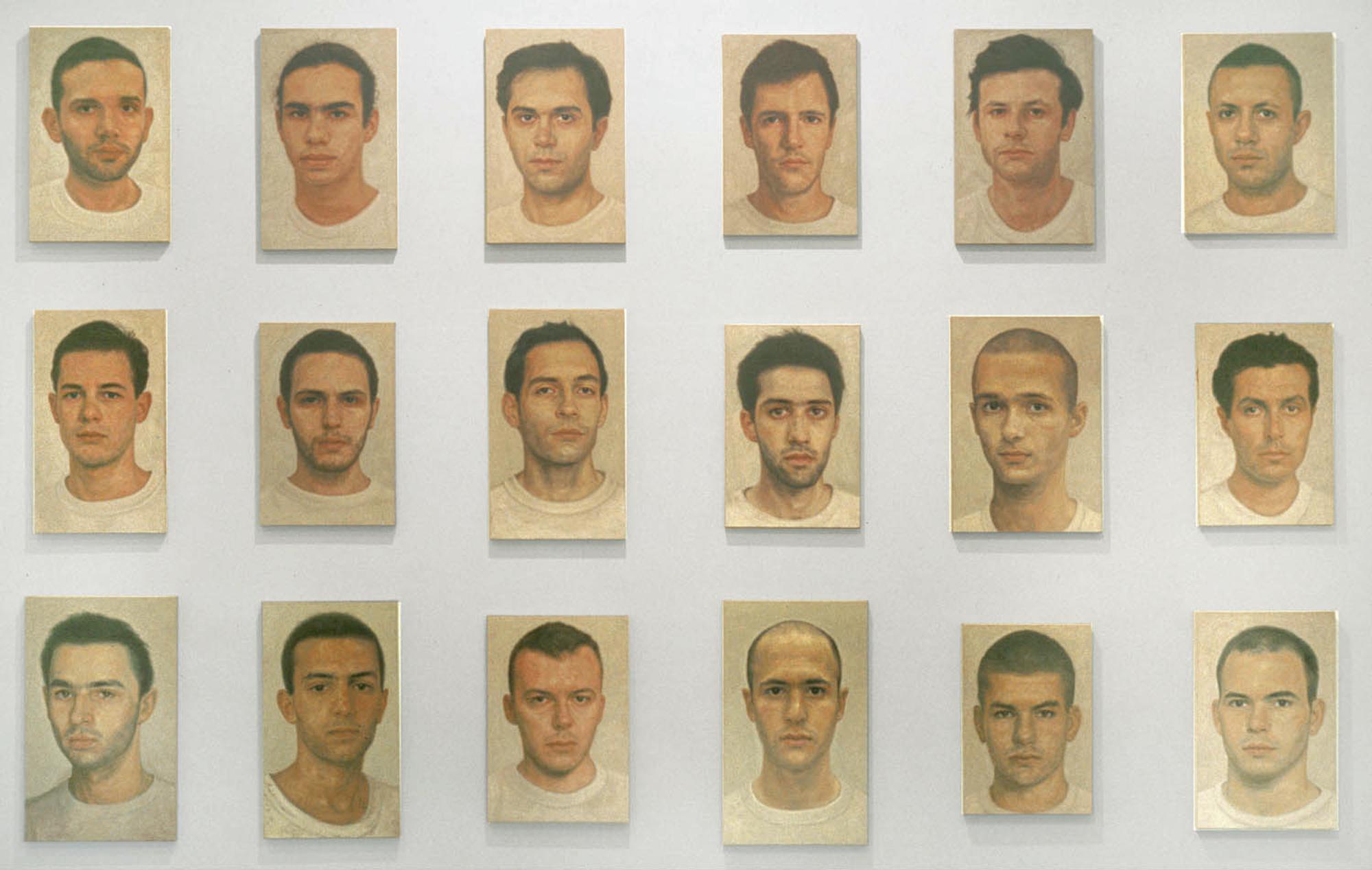Y.Z. Kami, Untitled (18 Portraits), 1994 95. Oil on canvas, cm 243.8 x 307.3 © Y.Z. Kami. Courtesy Gagosian