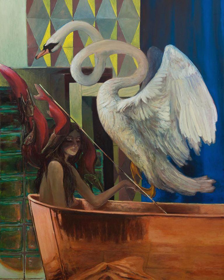 Thomas Braida, lontano dai cigni vicino ai salmoni, 2020, olio su tela, 216 x 170cm, courtesy l'artista e Monitor, Roma Lisbona Pereto (AQ)