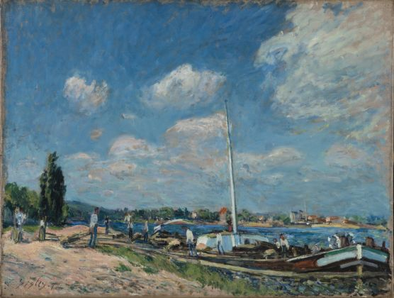 Alfred Sisley, Unloading Barges at Billancourt, 1877 Oil on canvas, 50 x 65 cm © Ordrupgaard, Copenhagen. Photo: Anders Sune Berg Exhibition organised by Ordrupgaard, Copenhagen and the Royal Academy of Arts
