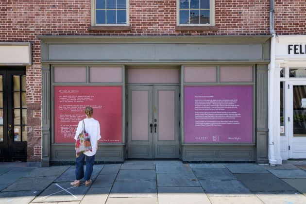 Asiya Wadud's ECHO EXHIBIT in NYC's Seaport District, co-presented by the Lower Manhattan Cultural Council (LMCC), the Seaport District and The Howard Hughes Corporation as part of River To River 2020: Four Voices, photo credit: Ian Douglas
