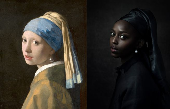 Johannes Vermeer, Girl with a Pearl Earring, ca. 1665; Re-creation: Jenny Boot