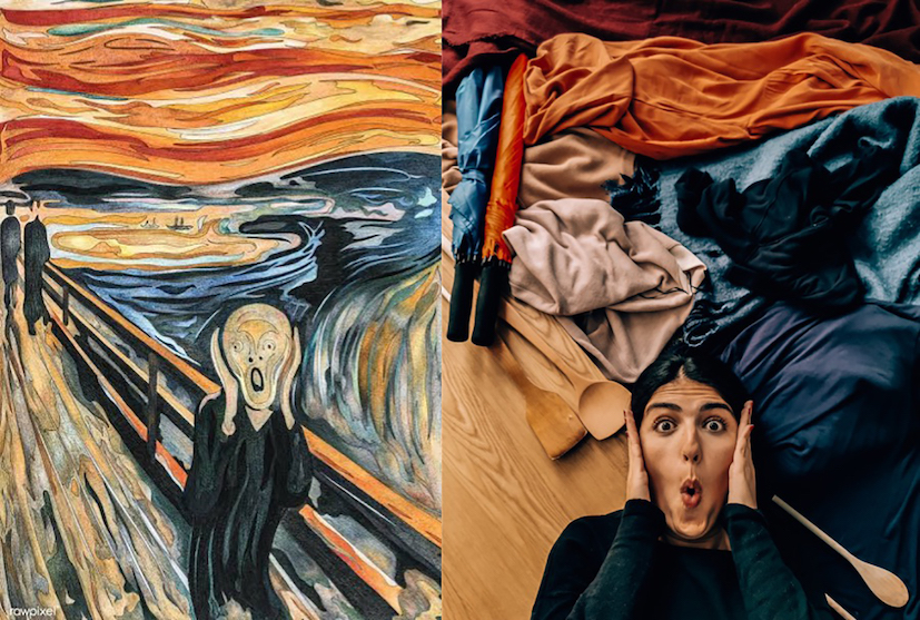Edvard Munch, The Scream, 1893; Re-creation: @wanderwithnada