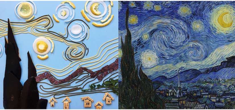 Vincent van Gogh, The Starry Night, 1889; Re-creation: @clairesalvo
