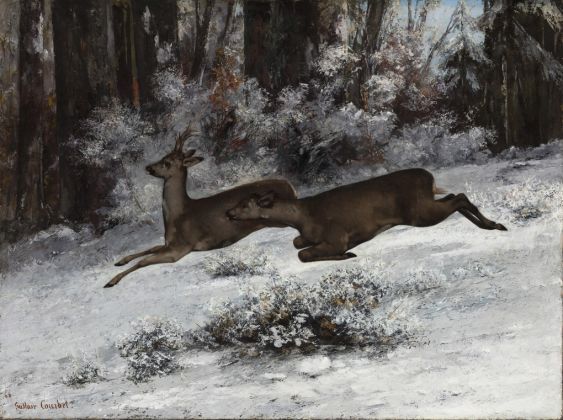 Gustave Courbet, The Ruse, Roe Deer Hunting Episode (Franche-Comté), 1866 Oil on canvas, 97 x 130 cm © Ordrupgaard, Copenhagen. Photo: Anders Sune Berg Exhibition organised by Ordrupgaard, Copenhagen and the Royal Academy of Arts