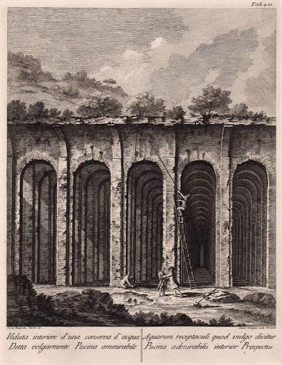 La Piscina Mirabilis in una veduta di P. A. Paoli, 1768