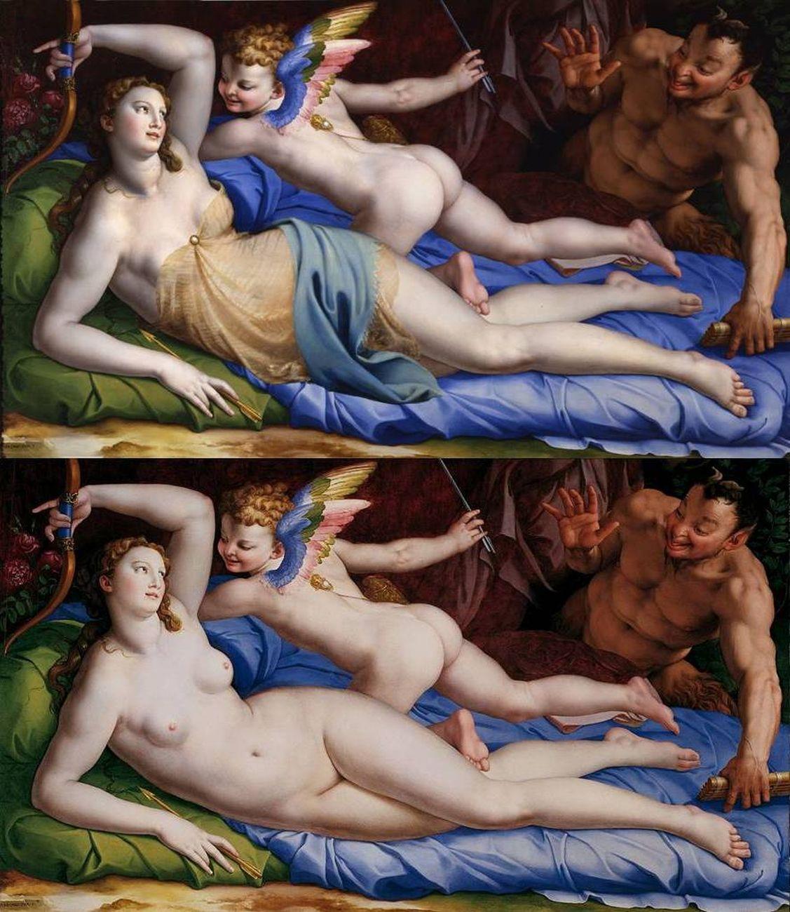 La Venere di Bronzino prima e dopo il restauro del 2000. Palazzo Colonna, Roma