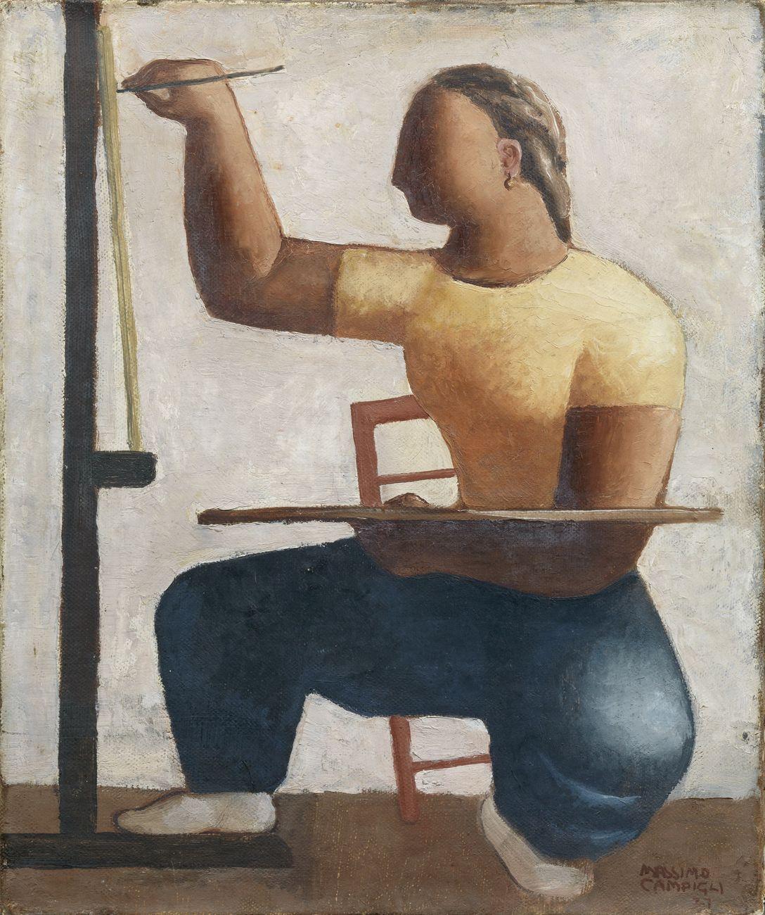 Massimo Campigli, Pittrice, 1927, olio su tela, cm 46,5x38