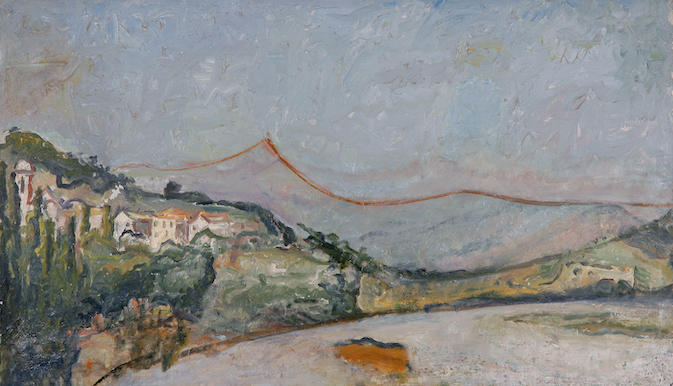 Osvaldo Licini, Servigliano, 1926 (con interventi successivi), olio su tela. Galleria Arte Contemporanea Osvaldo Licini, Ascoli Piceno