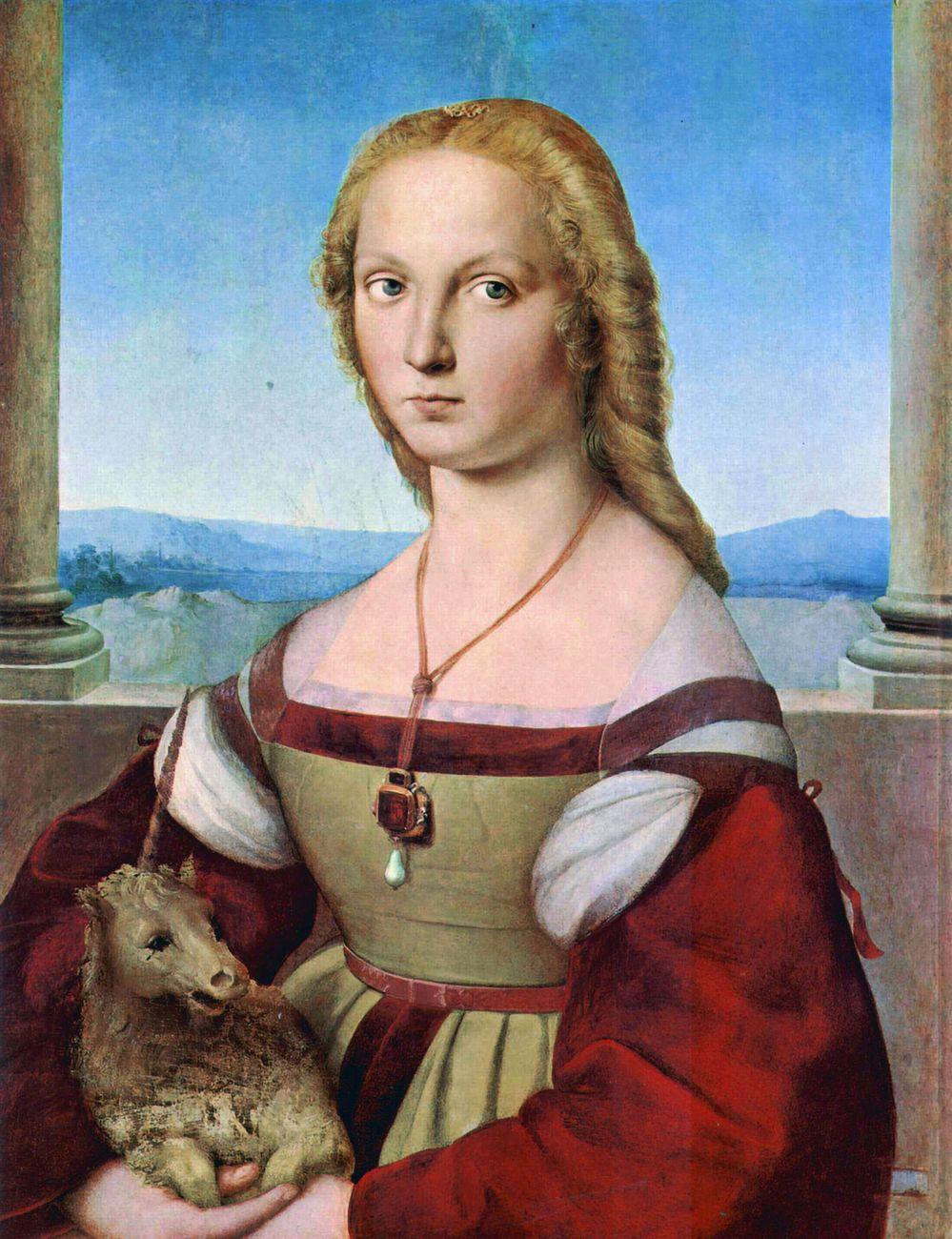 Raffaello Sanzio, Dama con liocorno, 1506 ca., olio su tavola, 65x51 cm. Galleria Borghese, Roma