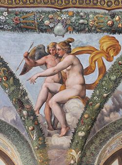 Roma, Villa Farnesina, Loggia di Amore e Psiche; Raffaello e bottega Venere invia Amore da Psiche