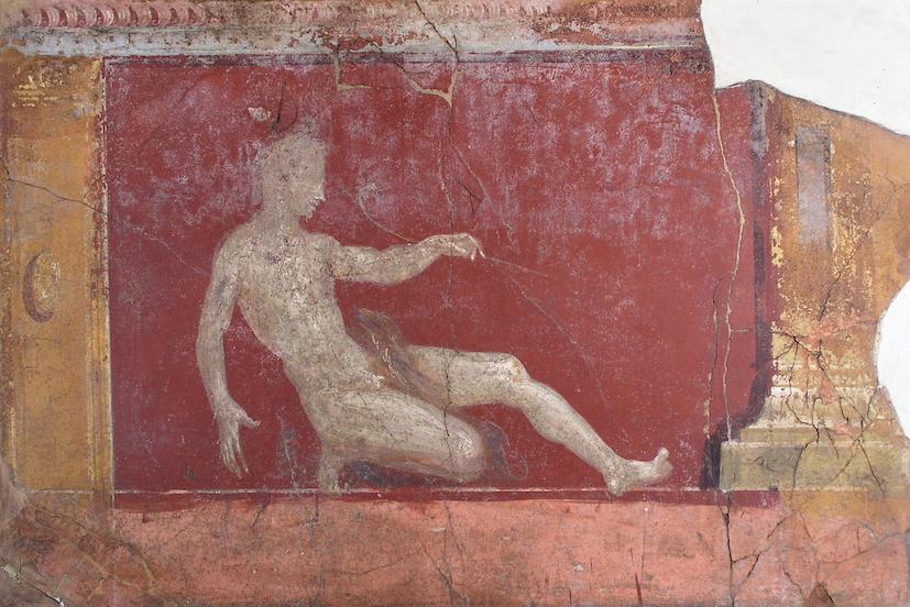 Affresco parietale con figura maschile Stabia, villa Arianna, I secolo d.C. © Ministero per i beni e le attività culturali e per il turismo / Parco Archeologico di Pompei