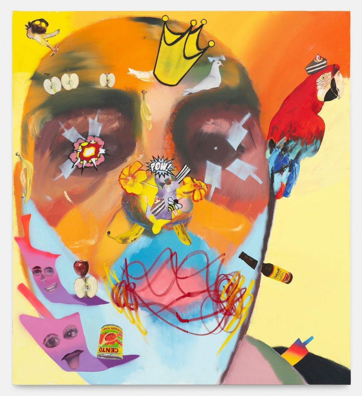 Alessandro Pessoli, Adorned King, 2020, olio, pittura spray e pastelli a olio su tela, 145x160 cm. Courtesy Havier Hufkens Gallery