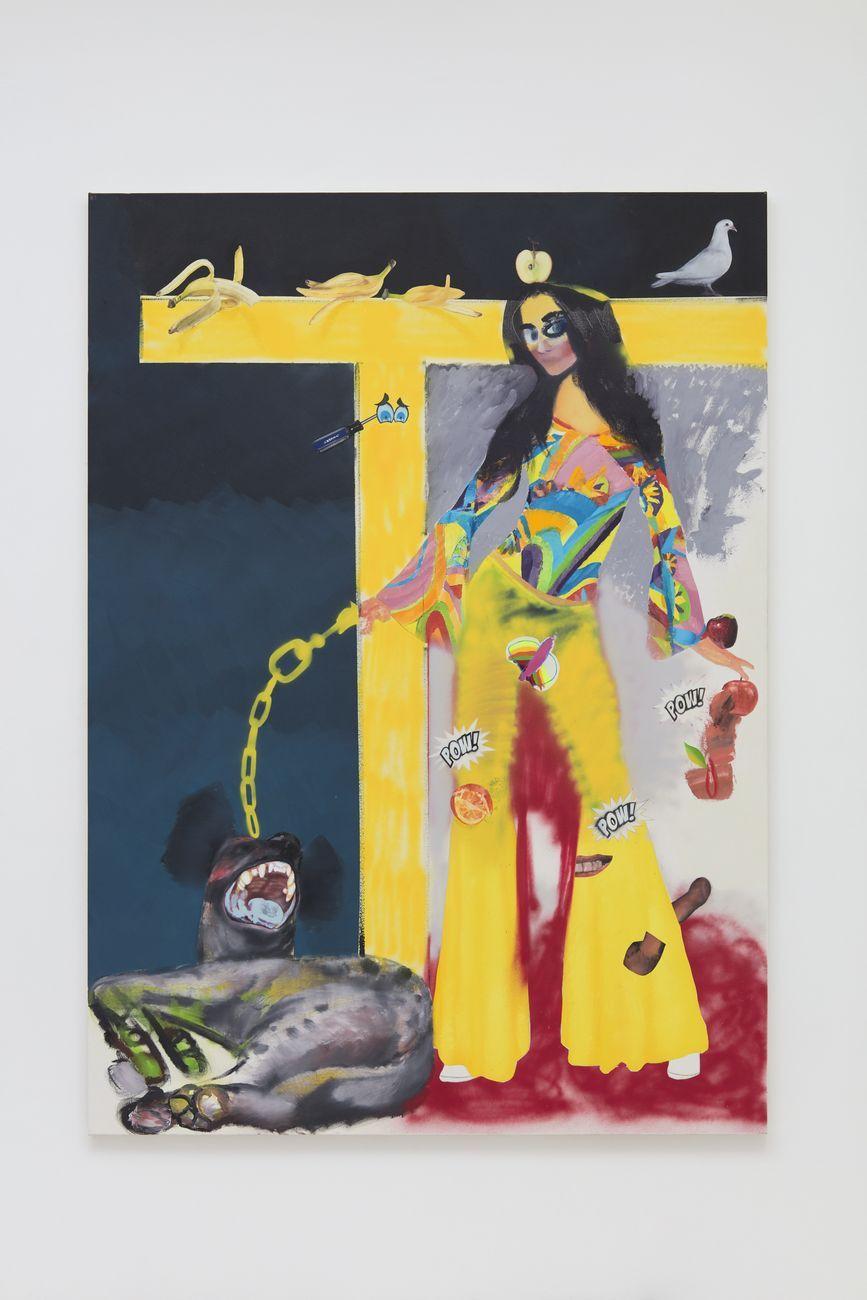 Alessandro Pessoli, Eva (Maddalena), 2019, olio, pittura spray, pastelli a olio, tempera, pastelli e collage su tela, 140x196 cm. Courtesy Nino Mier Gallery