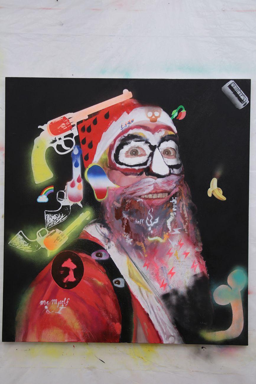 Alessandro Pessoli, Slave of West, 2017, olio, pittura spray e acrilico su tela, 110x100 cm. Courtesy Anton Kern Gallery
