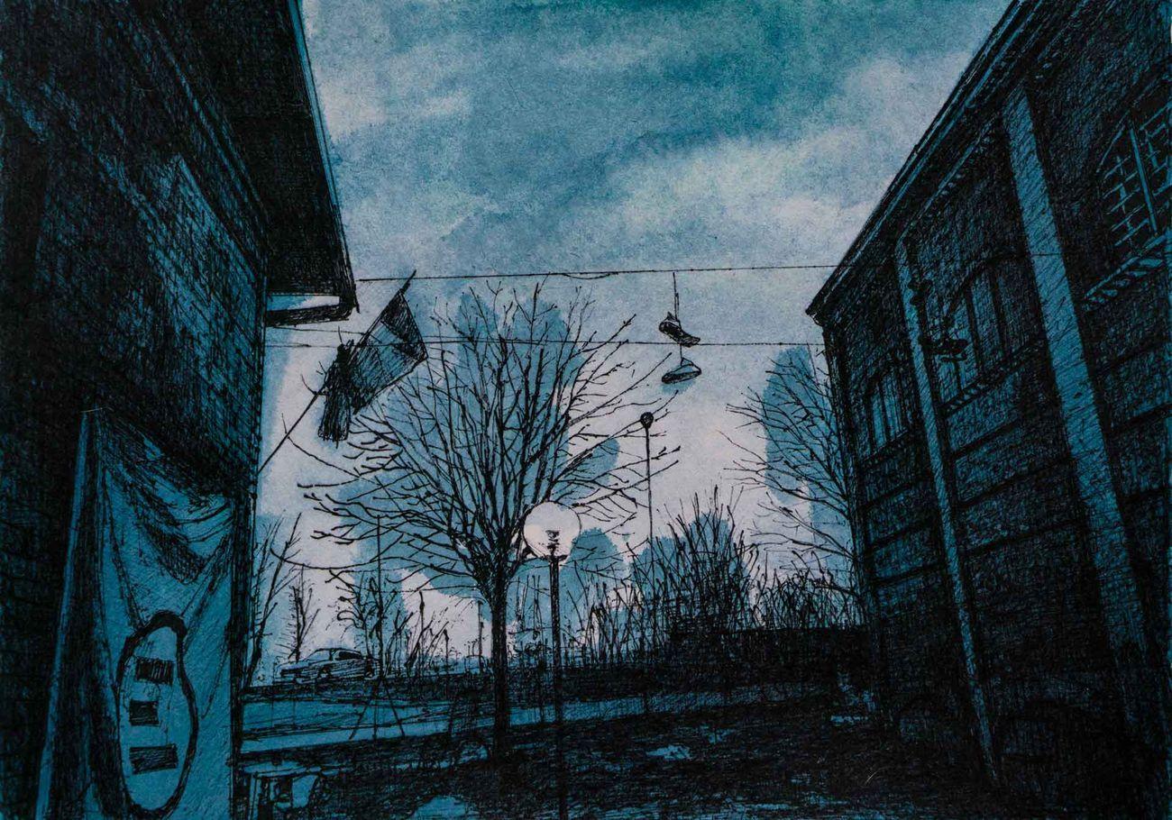 Andrea Chiesi, Ribalta 3, 2020, inchiostro e pennarelli su carta, cm 25x35