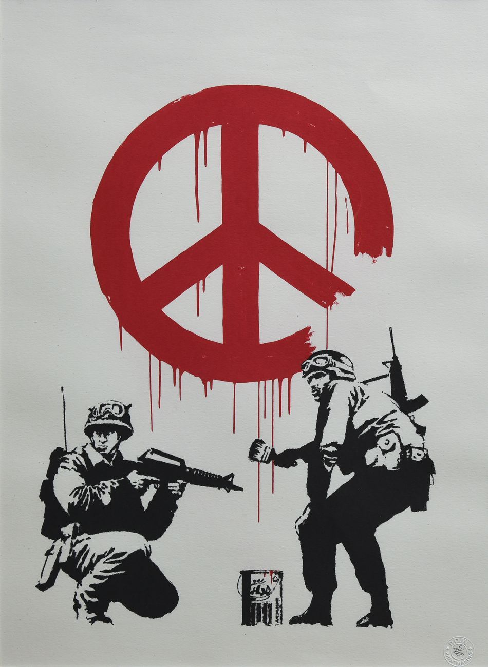 Banksy, CND Soldiers, 2007, serigrafia su carta. Collezione privata