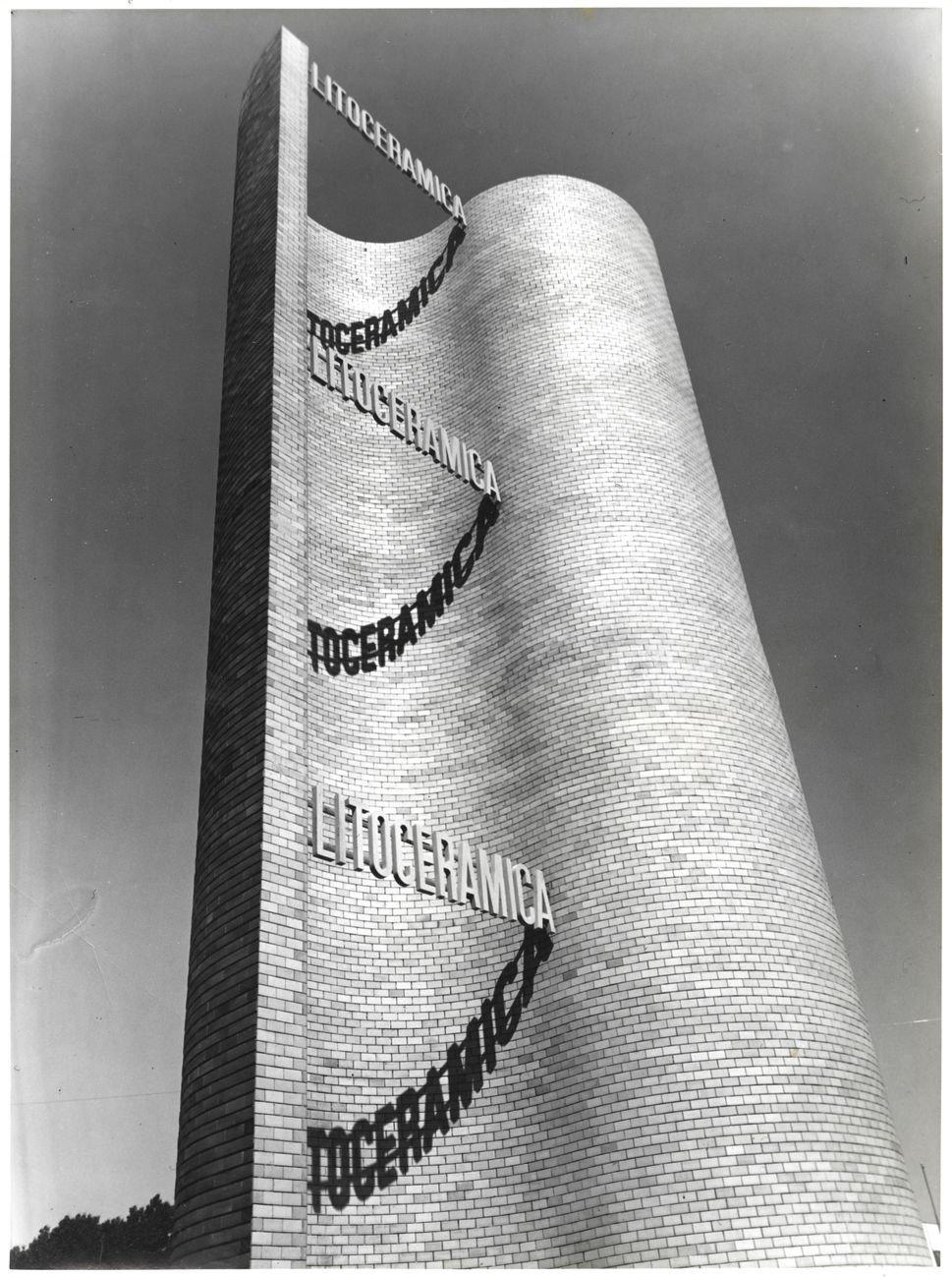 Giuseppe Pagano, Struttura a torre Litoceramica della Piccinelli ceramiche Soc. An., Fiera Campionaria di Milano, 1938. Courtesy Fondazione Fiera Milano Archivio Storico