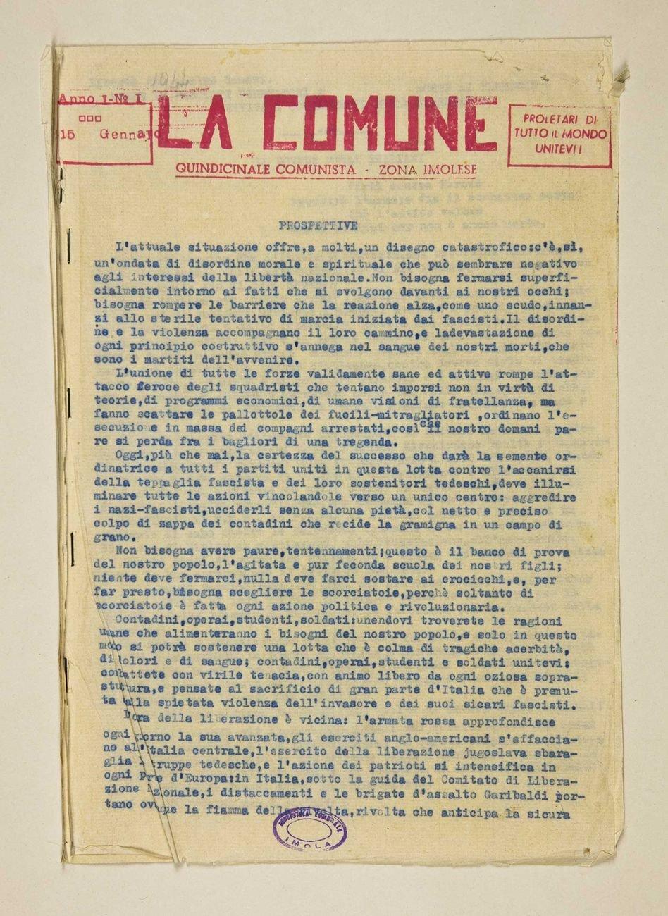 La Comune n.1, 15 gennaio 1944