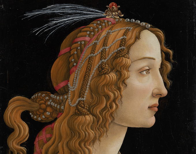 Sandro Botticelli (ca. 1445–1510) Idealised Portrait of a Lady (Portrait of Simonetta Vespucci as Nymph), ca. 1480 Mixed technique on poplar, 81.3 x 54.0 min. 0.3 cm Städel Museum, Frankfurt am Main CC BY-SA 4.0 Städel Museum, Frankfurt am Main - (detail)