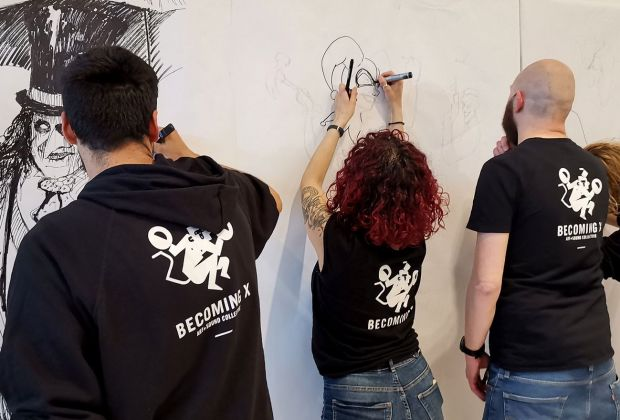 Tags&Comics. Becoming X Art + Sound Collective Live Drawing (Quasar Village 2019)