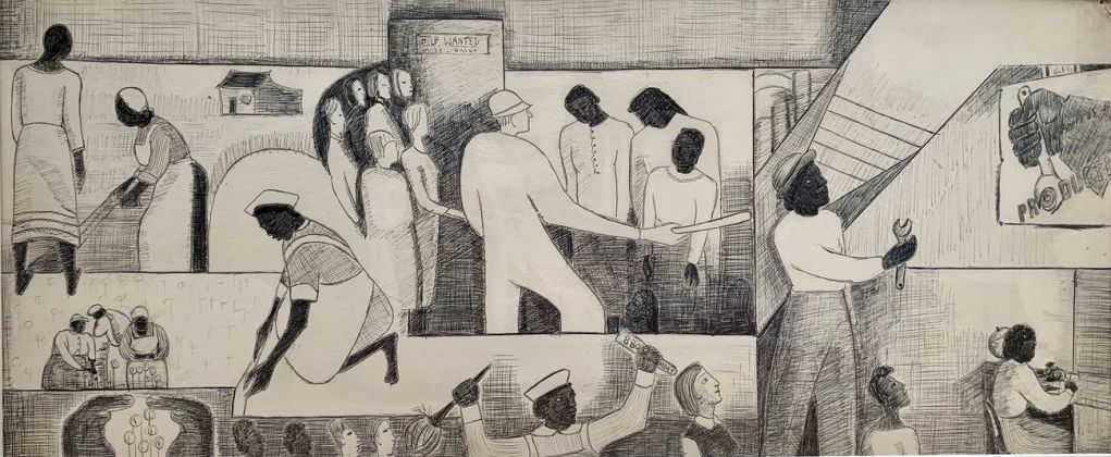 Thelma Johnson Streat, The Negro in Professional Life. Mural Study Featuring Women in the Workplace, 1944. Collezione Bernard Friedman