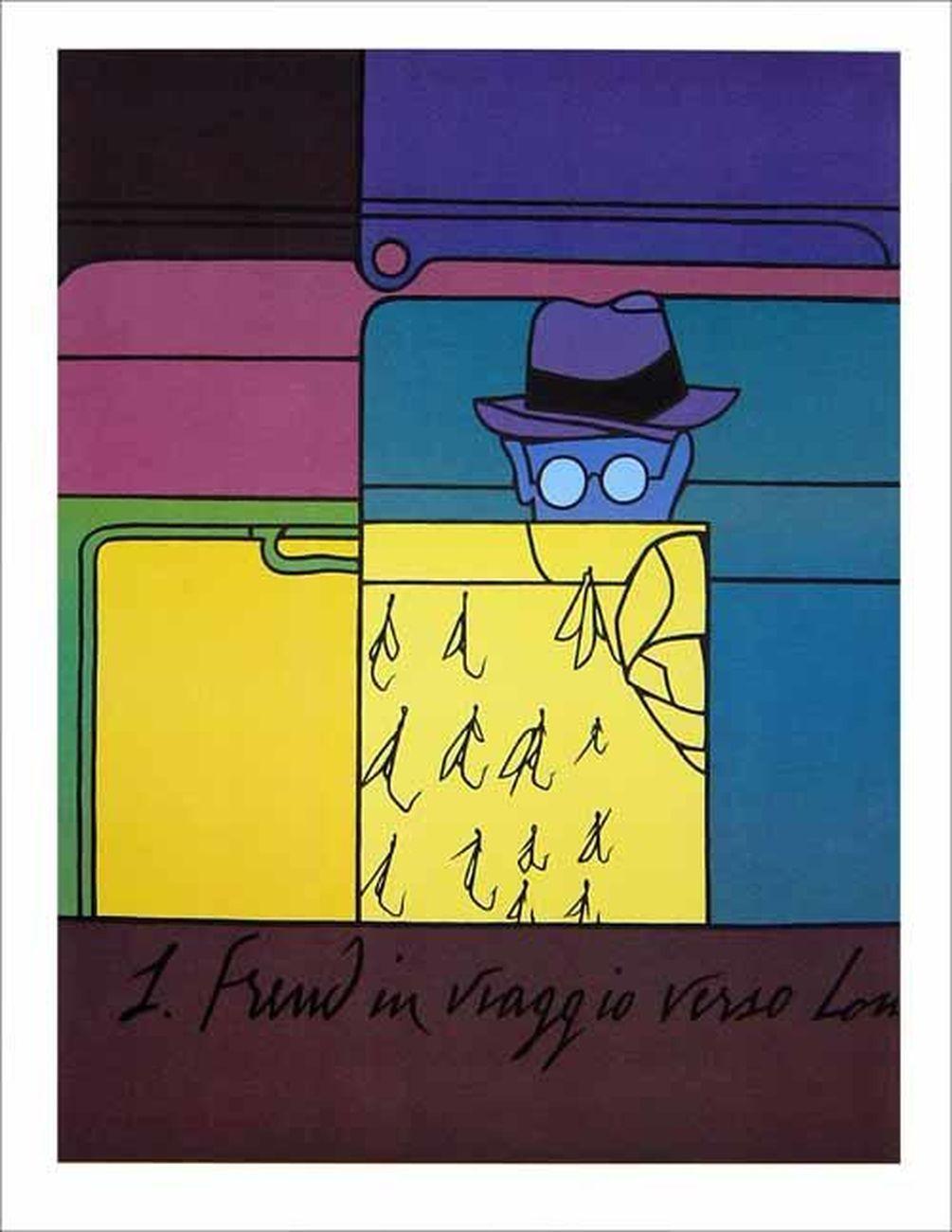 Valerio Adami, Sigmund Freud in viaggio verso Londra, 1973. Collezione privata